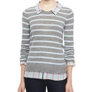 Joie Gray Rika F Cashmere Striped Sweater S
